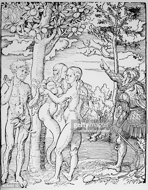 Adam and Eve Woodcut by Lucas Cranach the Elder 1523
