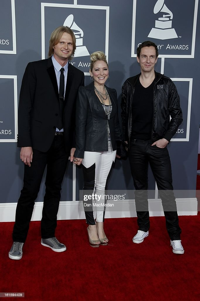 Adam Anders, Nikki Anders and Peer Astrom arrive at the 55th Annual Grammy Awards at the Staples Center on February 10, 2013 in Los Angeles, California.