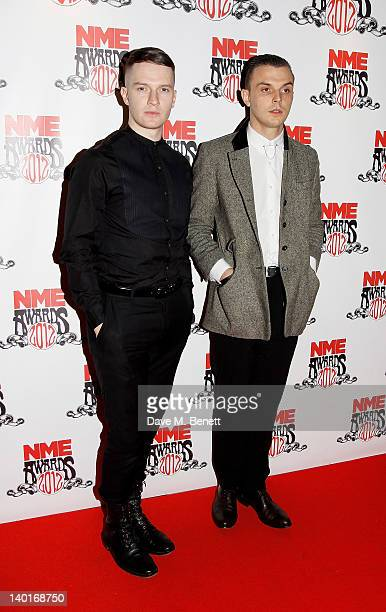 Adam Anderson and Theo Hutchcraft of Hurts arrive at the NME Awards 2012 at the Brixton Academy on February 29 2012 in London England