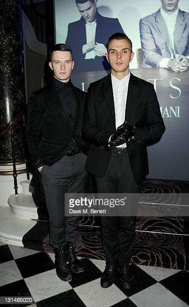 Adam Anderson and Theo Hutchcraft of 'Hurts' attend a party hosted by Emporio Armani to celebrate their final performance on their European Tour at...