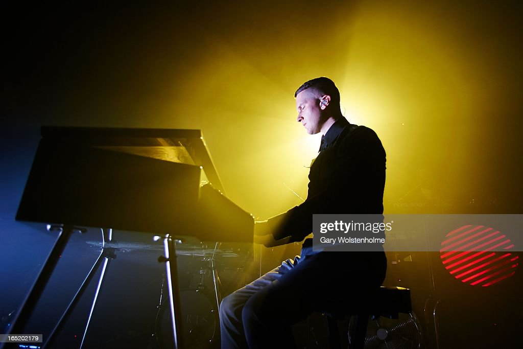 Adam Anderson of Hurts performs on stage at Manchester Academy on April 1, 2013 in Manchester, England.