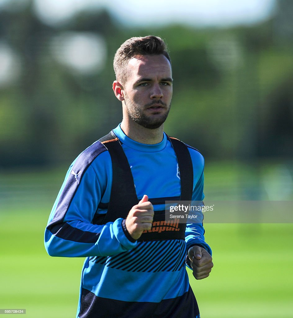 Adam Armstrong during the Newcastle United Training Session at The Newcastle United Training Centre on August 26 in Bristol England