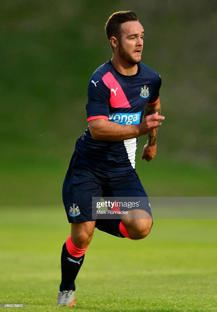 Adam Armstrong of Newcastle in action during the pre season friendly match between Gateshead and Newcastle United at Gateshead International Stadium...