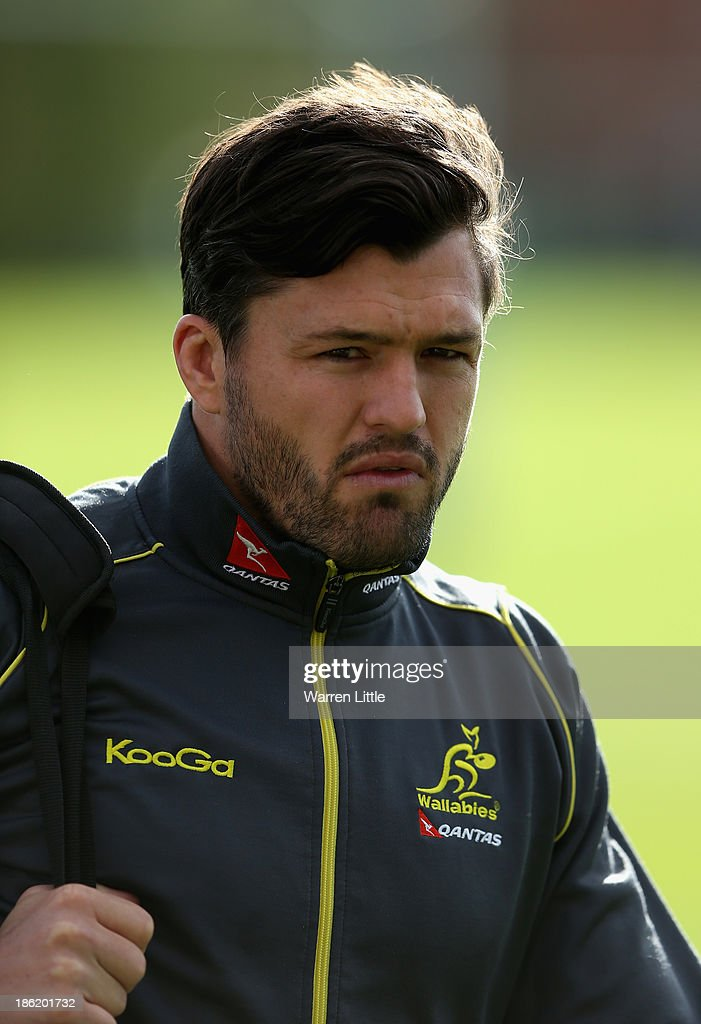 Adam Ashley-Cooper of Australia arrives for a training session at Latymer School on October 29, 2013 in London, England.
