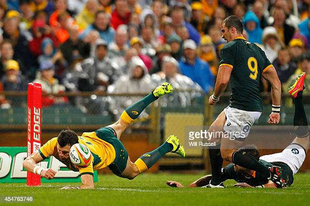 Adam AshleyCooper of the Wallabies dives for the line during The Rugby Championship match between the Australian Wallabies and the South African...