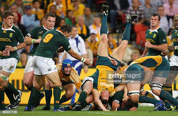 Adam AshleyCooper of the Wallabies lands on his head during a maul during the 2009 Tri Nations series match between the Australian Wallabies and the...