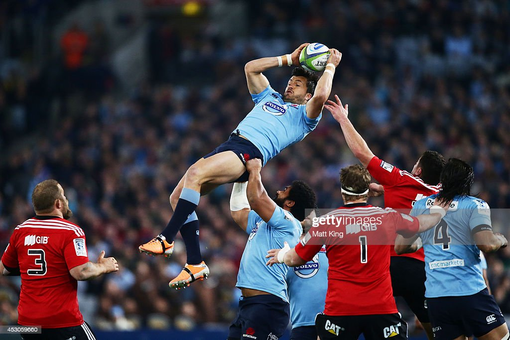 Adam AshleyCooper of the Waratahs jumps for a high ball during the Super Rugby Grand Final match between the Waratahs and the Crusaders at ANZ...