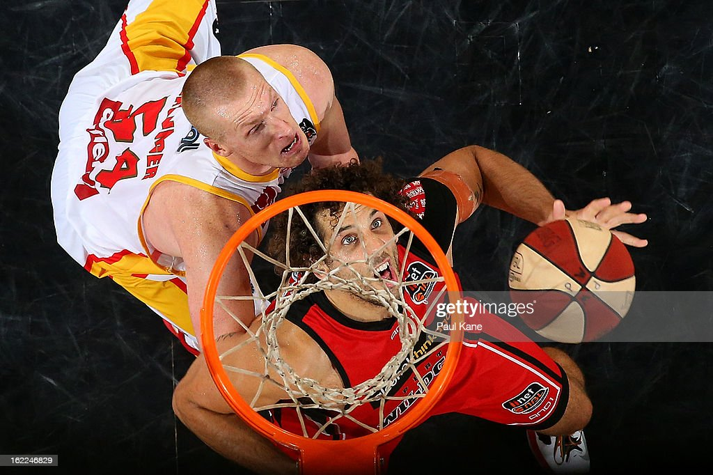 Adam Ballinger of the Tigers and Mattthew Knight of the Wildcats contest a rebound during the round 20 NBL match between the Perth Wildcats and the Melbourne Tigers at Perth Arena on February 21, 2013 in Perth, Australia.