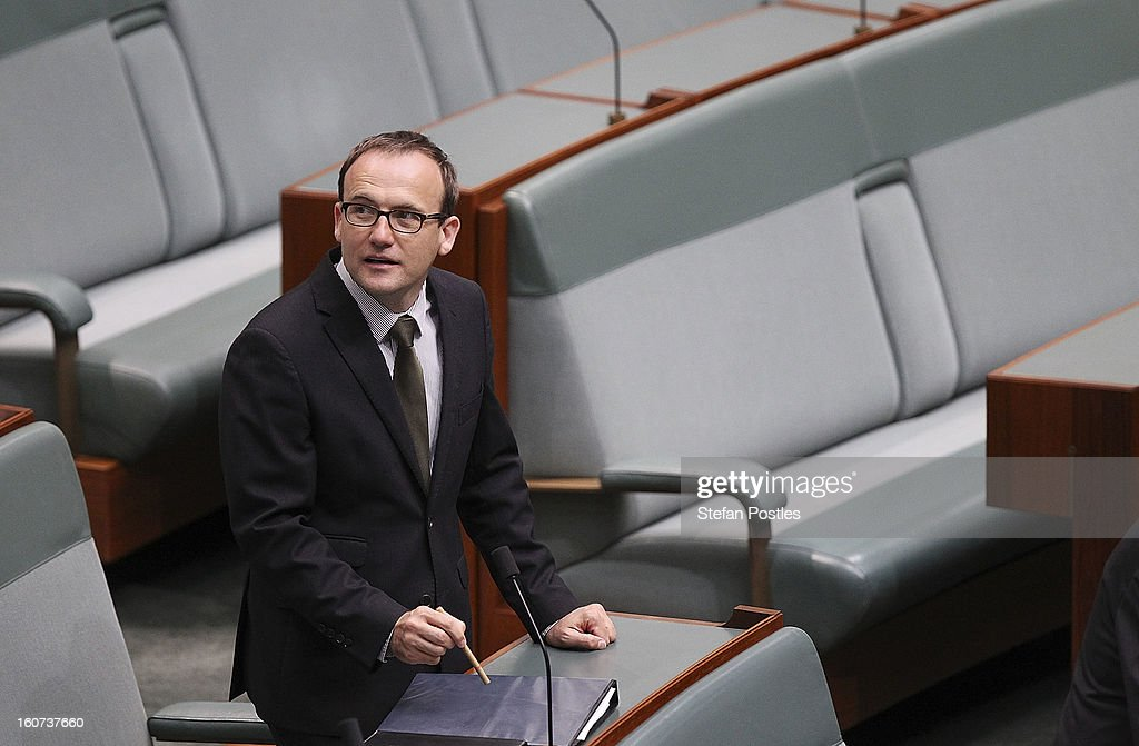 Adam Bandt during House of Representatives question time at Parliament House on February 5, 2013 in Canberra, Australia. Parliament resumes for the first sitting of 2013 today, just days after Prime Minister Gillard, announced a federal election date of September 14, 2013.