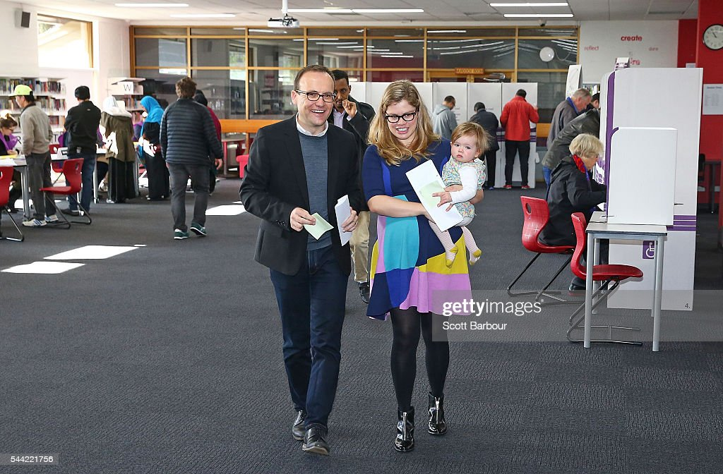 Adam Bandt, Greens Federal Member for Melbourne along with his wife Claudia Bandt and daughter Wren Bandt vote in the national election at a polling station on July 2, 2016 in Melbourne, Australia. Voters head to the polls today to elect the 45th parliament of Australia.