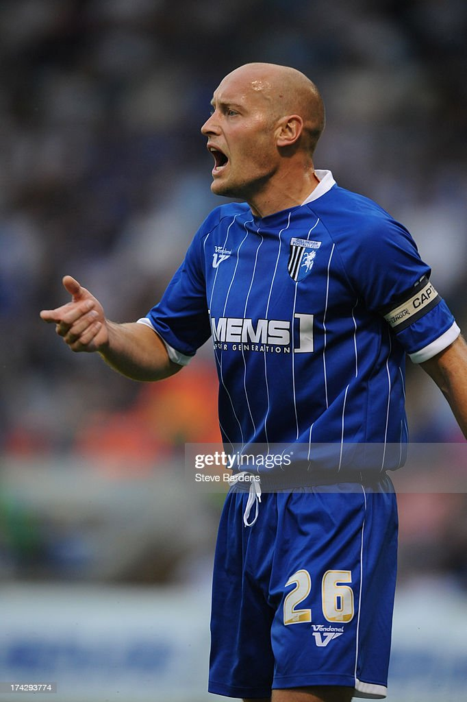 Adam Barrett of Gillingham during the pre season friendly match between Gillingham and Crystal Palace at Priestfield Stadium on July 23, 2013 in Gillingham, Medway.
