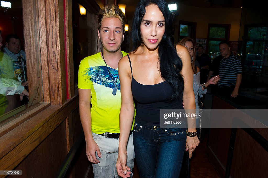 Adam Barta and Nadya 'Octomom' Suleman arrive at the Celebrity Pillow Fight Press Conference and Weigh In at the Fox And Hound Pub and Grille on June...