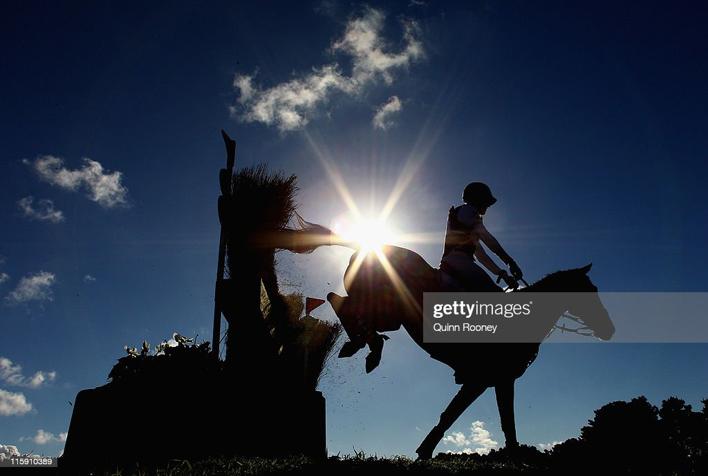 Adam Benson riding Enthusiast competes in the Cross Country during the Melbourne International Three Day Event at Werribee Park Mansion and the National Equestrian Centre on June 12, 2011 in Melbourne, Australia.