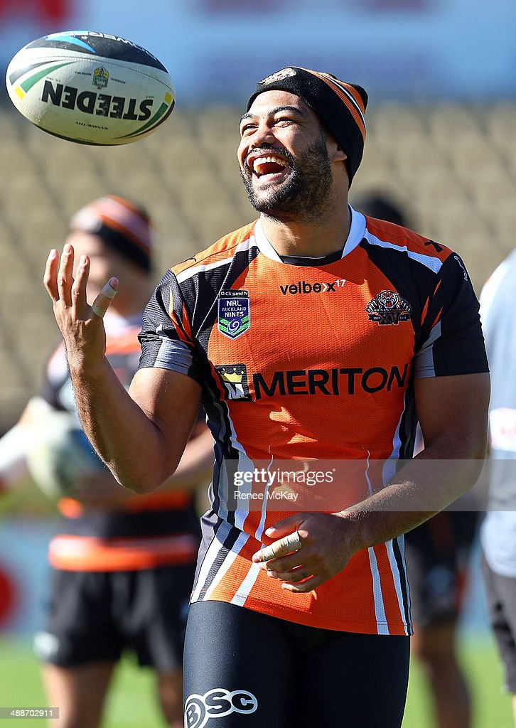 Adam Blair laughs during a Wests Tigers NRL training session at Concord Oval on May 8, 2014 in Sydney, Australia.