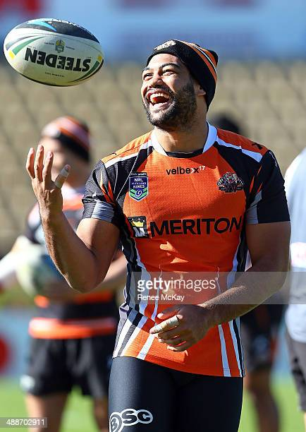 Adam Blair laughs during a Wests Tigers NRL training session at Concord Oval on May 8 2014 in Sydney Australia