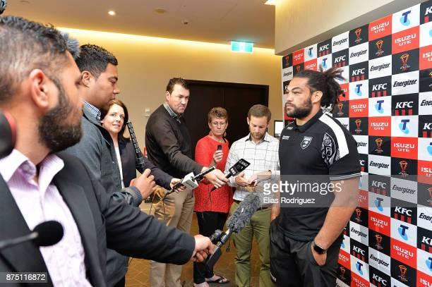 Adam Blair of New Zealand speaks to the media during the New Zealand Kiwis captain's run on November 17 2017 in Wellington New Zealand