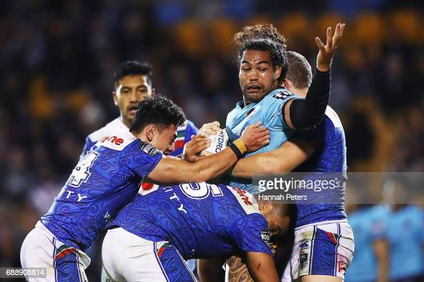 Adam Blair of the Broncos appeals to the referee during the round 12 NRL match between the New Zealand Warriors and the Brisbane Broncos at Mt Smart...