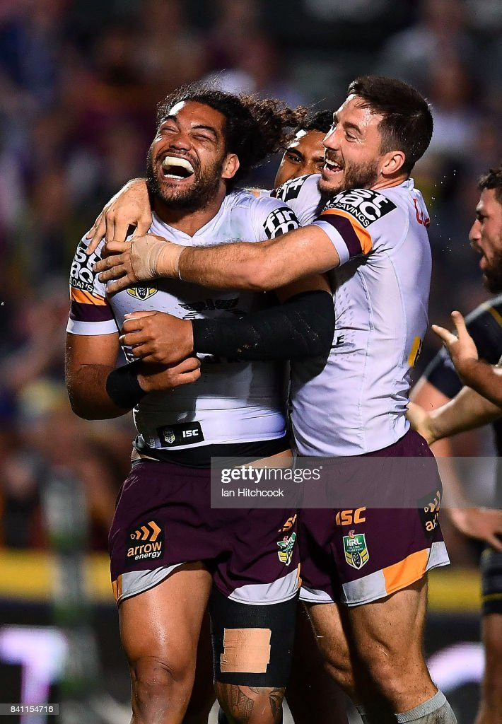 Adam Blair of the Broncos celebrates after scoring a try during the round 26 NRL match between the North Queensland Cowboys and the Brisbane Broncos at 1300SMILES Stadium on August 31, 2017 in Townsville, Australia.