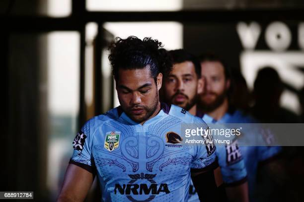 Adam Blair of the Broncos leads the team out from the players tunnel during the round 12 NRL match between the New Zealand Warriors and the Brisbane...