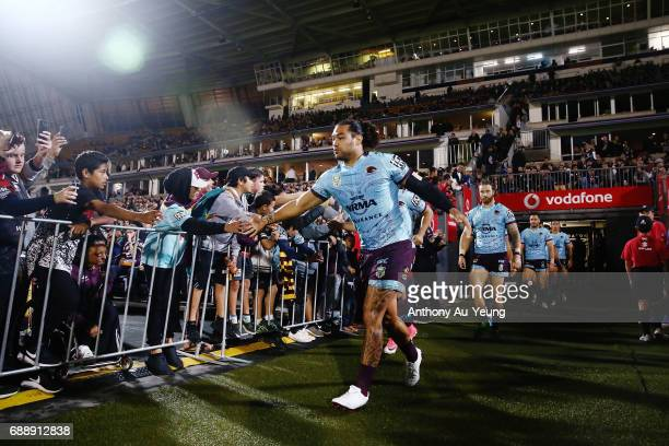 Adam Blair of the Broncos leads the team out onto the field during the round 12 NRL match between the New Zealand Warriors and the Brisbane Broncos...