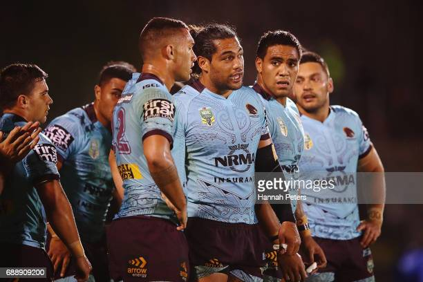 Adam Blair of the Broncos looks on during the round 12 NRL match between the New Zealand Warriors and the Brisbane Broncos at Mt Smart Stadium on May...