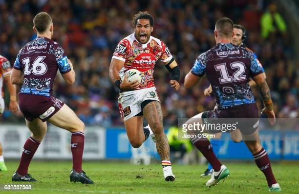Adam Blair of the Broncos runs at the defence during the round 10 NRL match between the Manly Sea Eagles and the Brisbane Broncos at Suncorp Stadium...