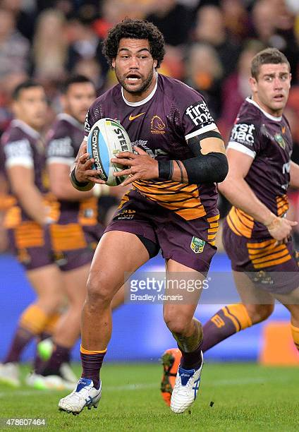 Adam Blair of the Broncos runs with the ball during the round 16 NRL match between the Brisbane Broncos and the Newcastle Knights at Suncorp Stadium...