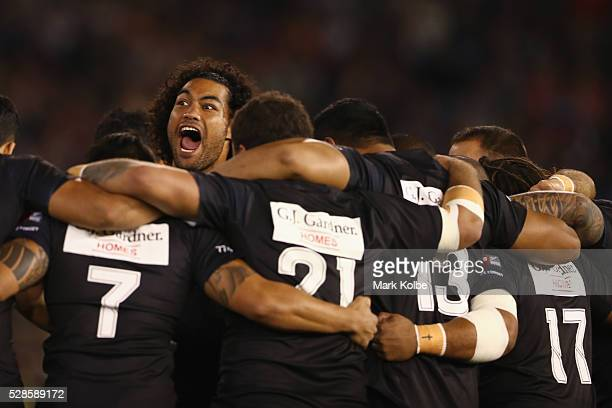 Adam Blair of the Kiwis leads the Haka before the International Rugby League Trans Tasman Test match between the Australian Kangaroos and the New...