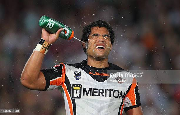 Adam Blair of the Tigers cools down during the round two NRL match between the Manly Sea Eagles and the Wests Tigers at Bluetongue Stadium on March 9...
