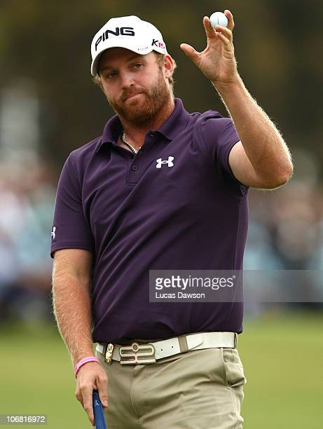 Adam Bland of Australia finishs his round after round four of the Australian Masters at The Victoria Golf Club on November 14 2010 in Melbourne...