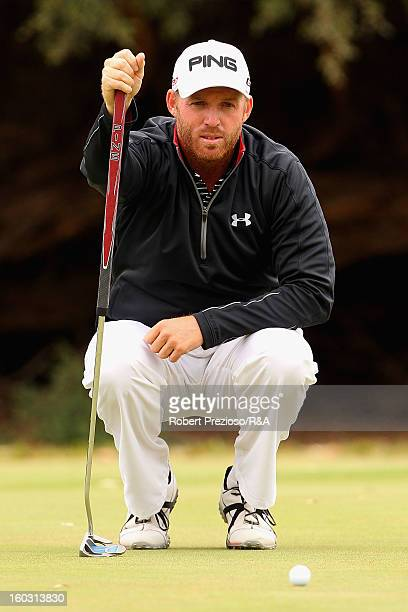 Adam Bland of Australia lines up a shot on the 9th hole during the Open International Final Qualifying Australasia day one at Kingston Heath Golf...