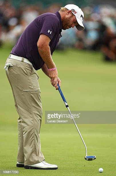 Adam Bland of Australia misses a put during round four of the Australian Masters at The Victoria Golf Club on November 14 2010 in Melbourne Australia