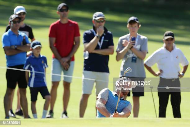 Adam Bland of Australia plays a bunker shot on hole six during round four of the ISPS HANDA World Super 6 Perth at Lake Karrinyup Country Club on...