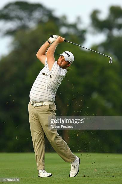 Adam Bland of Australia plays a shot on the 10th hole during Australasian qualifying for The Open at Kingston Heath Golf Club on January 11 2011 in...