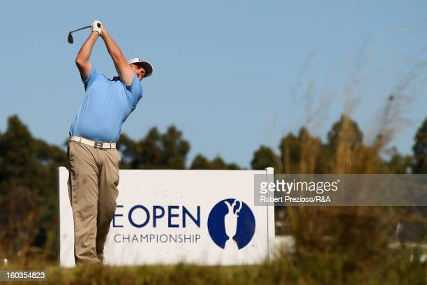 Adam Bland of Australia plays a shot on the 5th hole during day two of the British Open International Final Qualifying Australasia at Kingston Heath...