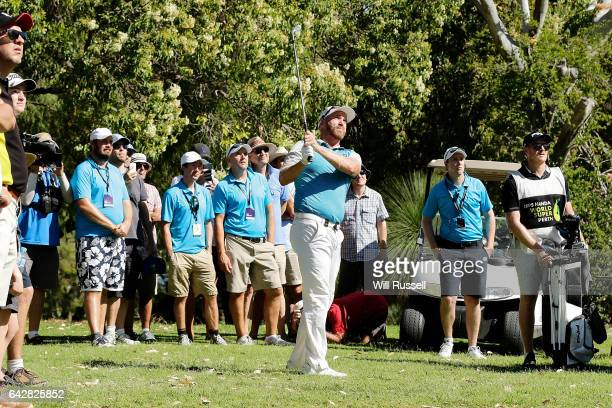 Adam Bland of Australia plays his second shot on the fifth hole during round four of the ISPS HANDA World Super 6 Perth at Lake Karrinyup Country...
