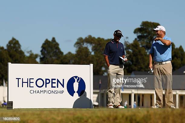 Adam Bland of Australia prepares to play a shot on the 5th hole during day two of the British Open International Final Qualifying Australasia at...