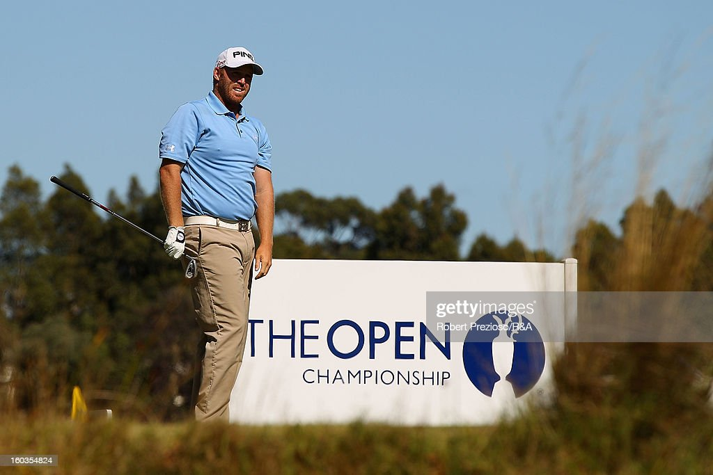 Adam Bland of Australia prepares to play a shot on the 5th hole during day two of the British Open International Final Qualifying Australasia at Kingston Heath Golf Club on January 30, 2013 in Melbourne, Australia.