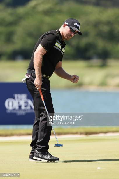 Adam Bland of Australia reacts on the 18th green during the final round of Mizuno Open at JFE Setonaikai Golf Club on May 28 2017 in Okayama Japan