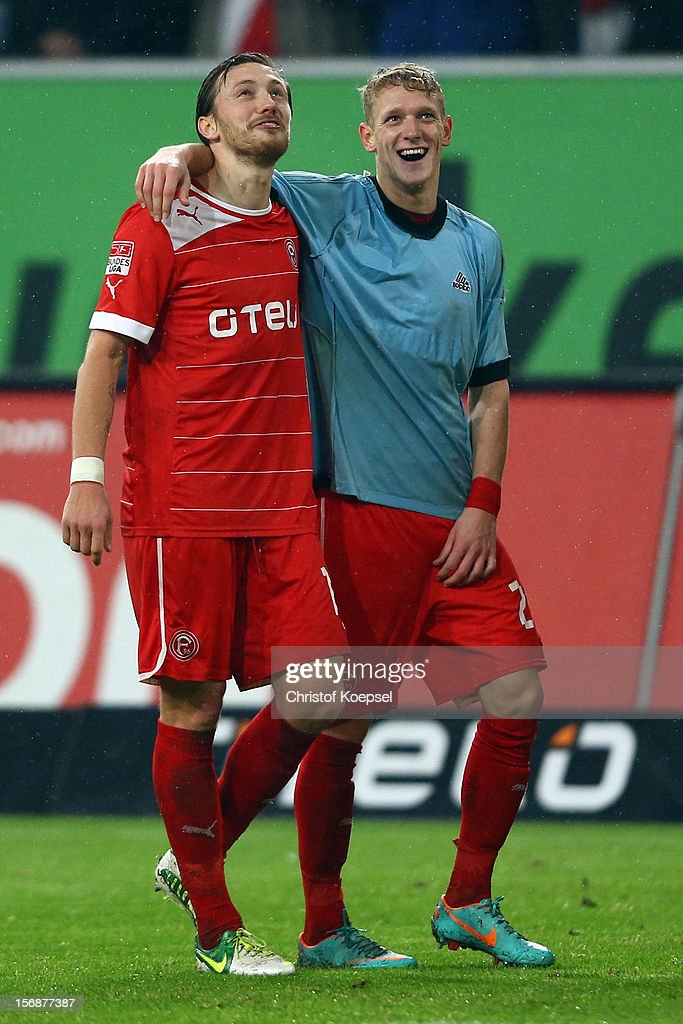 Adam Bodzek and Johannes van den Bergh of Duesseldorf celebrate after the Bundesliga match between Fortuna Duesseldorf and Hamburger SV at Esprit-Arena on November 23, 2012 in Duesseldorf, Germany. The match between Duesseldorf and Hamburg ended 2-0.