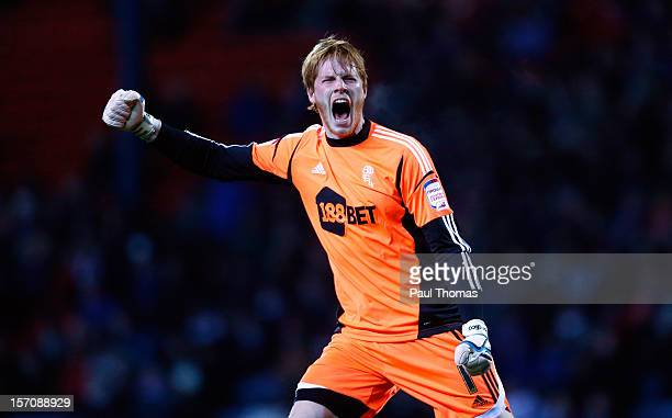 Adam Bogdan of Bolton celebrates the goal scored by team mate Kevin Davies during the npower Championship match between Blackburn Rovers and Bolton...