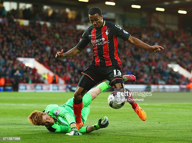 Adam Bogdan of Bolton Wanderers foils Callum Wilson of Bournemouth during the Sky Bet Championship match between AFC Bournemouth and Bolton Wanderers...