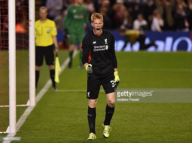 Adam Bogdan of Liverpool celebrates during the Capital One Cup third round match between Liverpool and Carlisle United at Anfield on September 23...