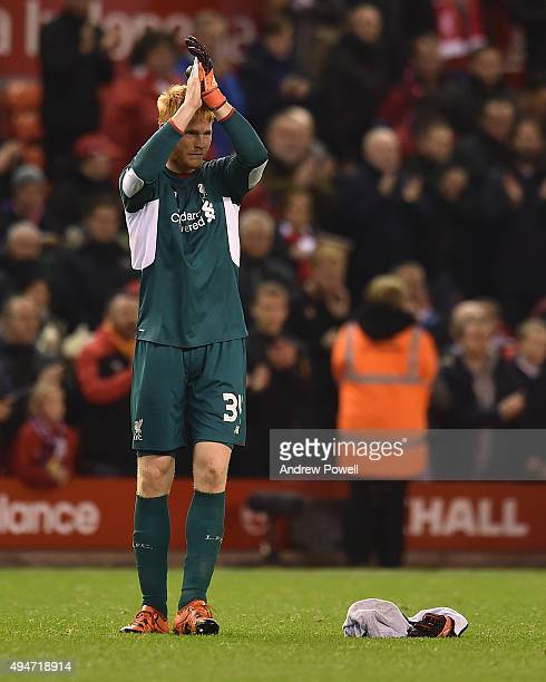 Adam Bogdan of Liverpool claps to the fans at the end of the Capital One Cup Fourth Round match between Liverpool and AFC Bournemouth at Anfield on...