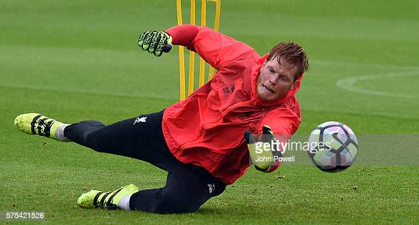 Adam Bogdan of Liverpool during a training session at Melwood Training Ground on July 15 2016 in Liverpool England