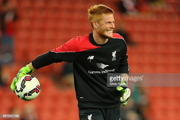 Adam Bogdan of Liverpool FC warms up ahead of the international friendly match between Brisbane Roar and Liverpool FC at Suncorp Stadium on July 17...
