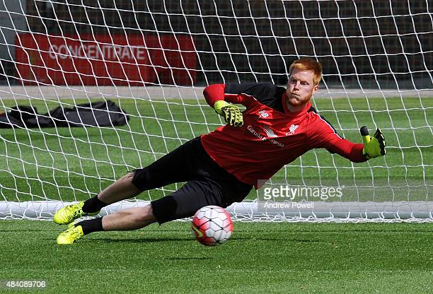 Adam Bogdan of Liverpool in action during a training session at Melwood Training Ground on August 15 2015 in Liverpool England