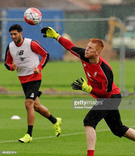 Adam Bogdan of Liverpool in action during a training session at Melwood Training Ground on August 22 2015 in Liverpool England