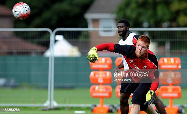 Adam Bogdan of Liverpool in action during a training session at Melwood Training Ground on August 27 2015 in Liverpool England