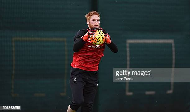 Adam Bogdan of Liverpool in action during a training session at Melwood Training Ground on December 18 2015 in Liverpool England